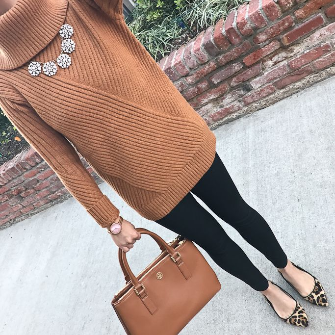 Aran Cowlneck Sweater, leopard flats, round crystal necklace, blank ankle pants, camel purse, casual outfit, fall outfit, winter outfit - click the photo for outfit details!