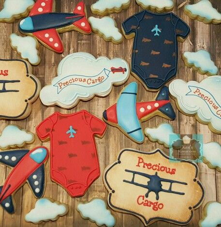 Vintage Airplane decorated sugar cookies precious cargo Keri's Kreations
