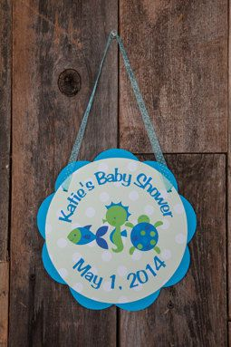 Ocean Baby Shower Door Sign - Baby Shower Decorations - Welcome Sign - Under the Sea Shower - Ocean Baby Shower Sign