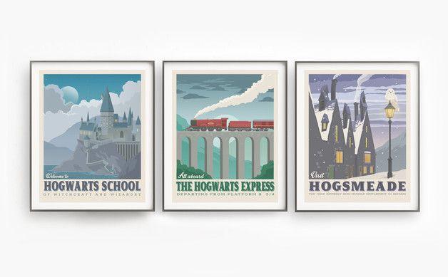 Harry-Potter-Poster-Set, Sammlung Druck im September Retro Reiseplakat , inspiriert Film, Kunst Weihnachtsgeschenk, Kunst zum Herunterladen, Kinderzimmer Dekor, fantastische Tier und wo sie zu...