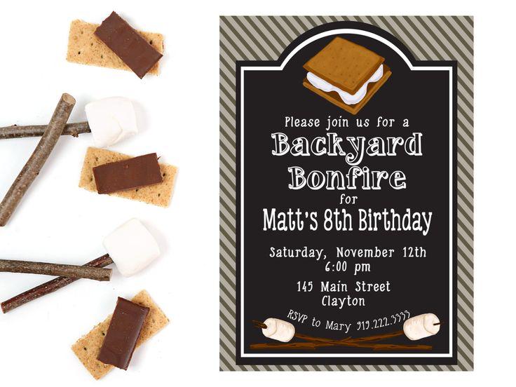Bonfire Birthday Invitation | S'mores Birthday | Bonfire Birthday | Camping Birthday Party Invitation | Birthday Party | Bonfire Birthday by SugarPieDesigns1 on Etsy