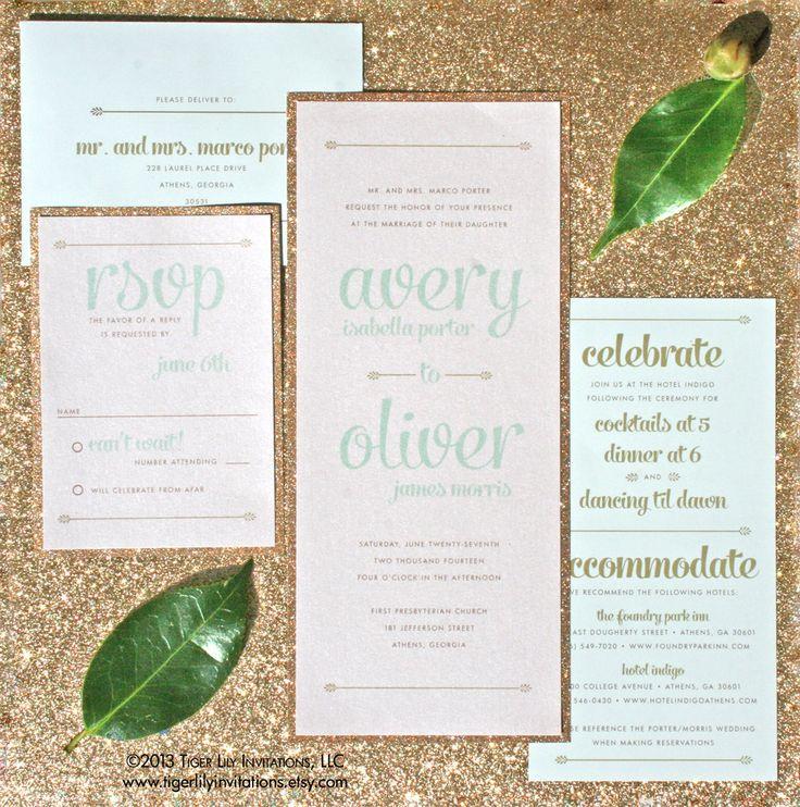 Glitter Wedding Invitation Set Sample   Gold Wedding Invitation   Mint And Gold  Invitation