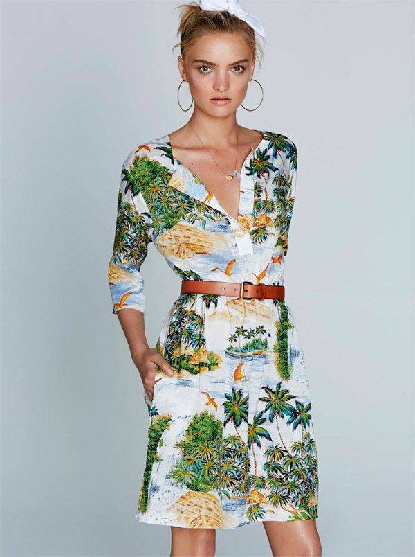 Goa Palm Print Placket Shirt Dress by Collette By Collette Dinnigan