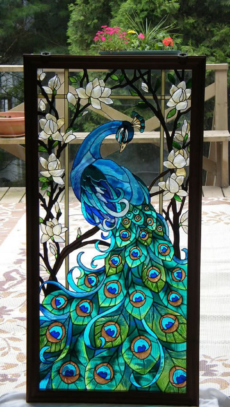 Beach theme decoration stained glass window panels arts crafts - Absolutely Beautiful Stained Glass Peacock Art