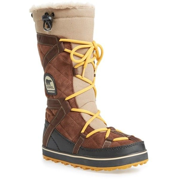 """SOREL 'Glacy Explorer' Waterproof Boot, 1"""" heel ($135) ❤ liked on Polyvore featuring shoes, boots, mid-calf boots, tabacco, sorel boots, sorel, waterproof boots and low heel boots"""