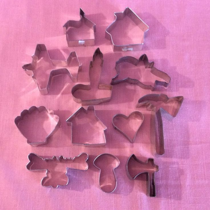 Lot 12 Metal Tin Cookie Cutters Airplane House Church Hammer Moose Cupid Heart #Unknown #cookiecutters #designsbym #ebay