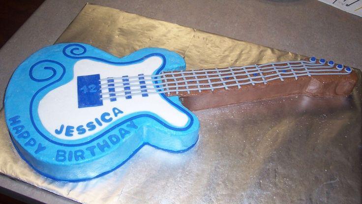Fondant 12 Year Old Girl Birthday Cake Birthday Guitar