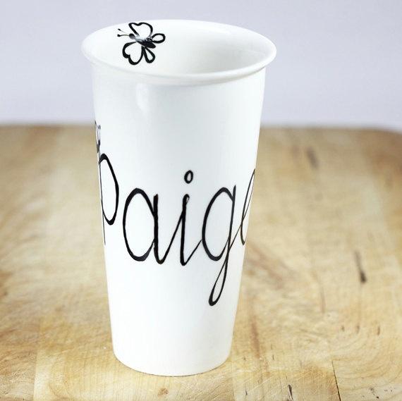 Personalized Ceramic Travel Mug Hand Painted Ceramic Monogram Name Black and White Minimalist Kitchen Decor Decorative ceramic Art. $35.00, via Etsy.