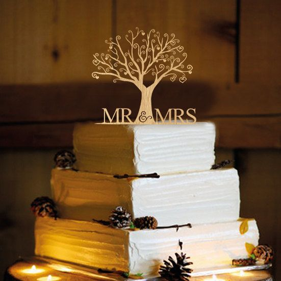 Rustic Wedding Cake Topper - Personalized Monogram Cake Topper - Mr and Mrs - Cake Decor - Bride and Groom THIS IS MY FAVORITE