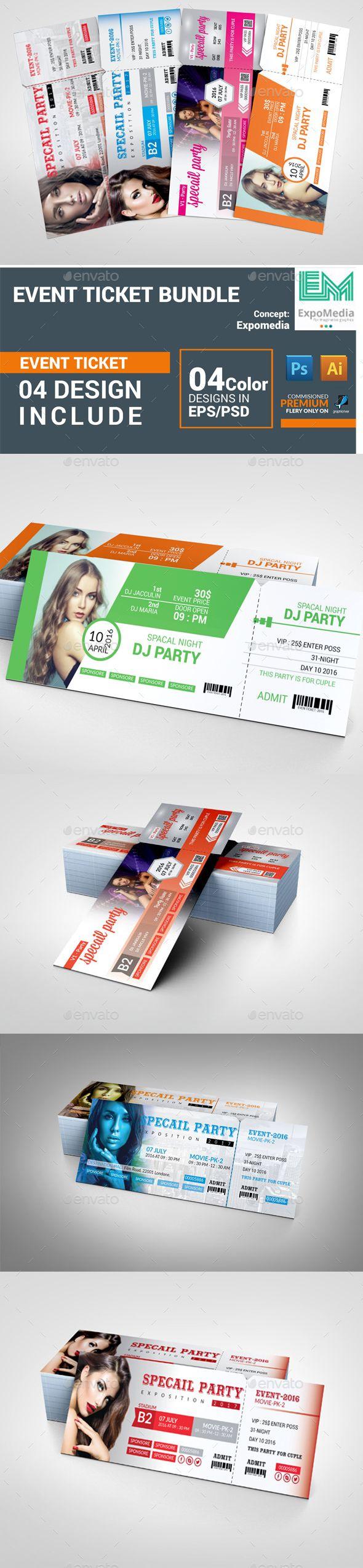 Event Ticket Bundle  — PSD Template #three color #concert • Download ➝ https://graphicriver.net/item/event-ticket-bundle/18427781?ref=pxcr