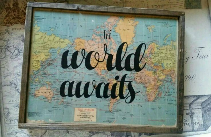 Travel Decor / The World awaits Wood Sign / Map Decor / Wood Quote Block / Travel Themes Nursery / Vintage Travel / Travel Gift / Graduation Gift from Lakecount