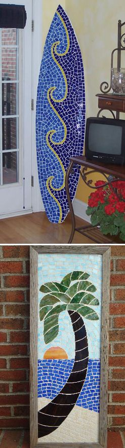 Mosaic surfboard art