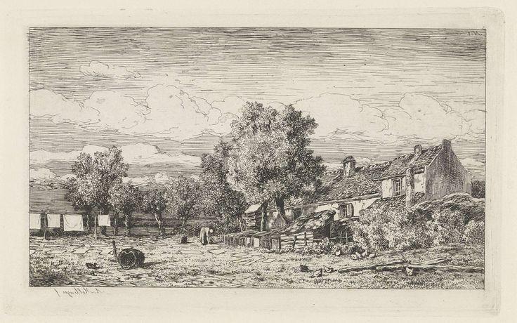 Alexander Mollinger   Bleekveld, Alexander Mollinger, 1846 - 1867   Op een bleekveld legt een vrouw wasgoed op het gras. Links was aan een waslijn, rechts huizen. Rechtsboven genummerd: 1.
