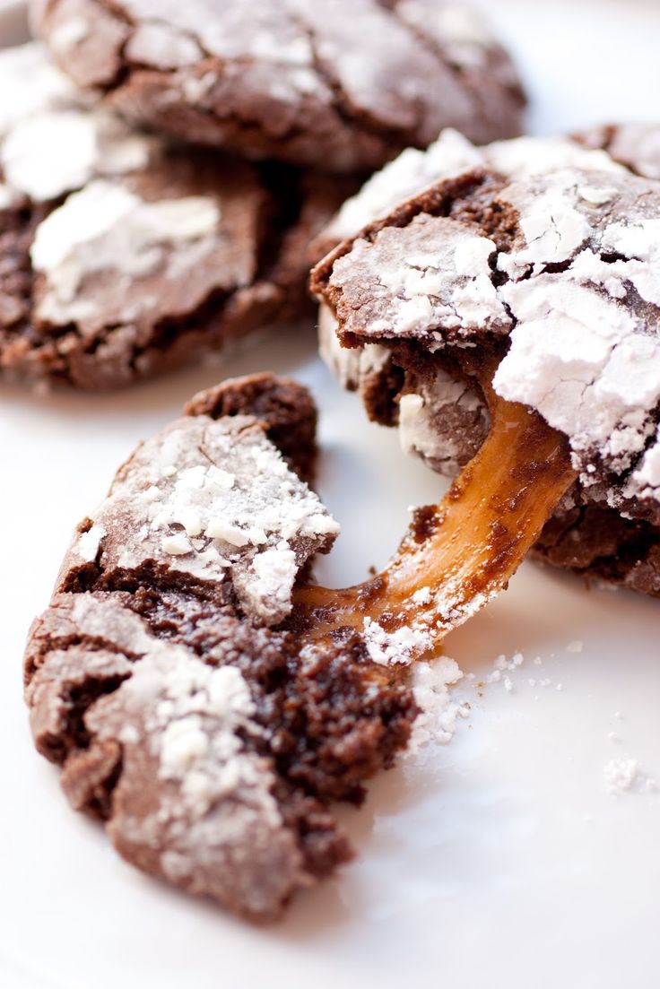 Salted Caramel Stuffed Chocolate Crinkle Cookies