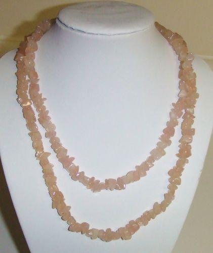 Long Natural Rose Quartz Chip Necklace  Available at SWERVE! www.swervestudio.com