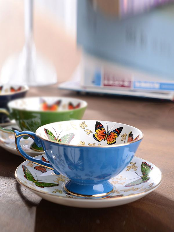 Classic Delicate Butterfly Shiny Coffee Cup With Saucer & Dining - at Jollychic