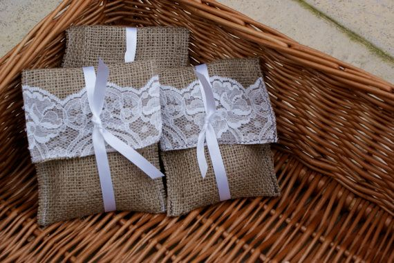100 burlap and lace favor bags by Littlewhiteboutique on Etsy, $120.00