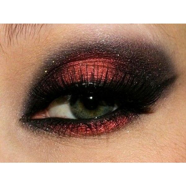 How To Do Smokey Eyes Red Eyes Super Hot ❤ liked on Polyvore featuring beauty products, makeup, eye makeup, eyes, red makeup, red eye makeup and red cosmetics