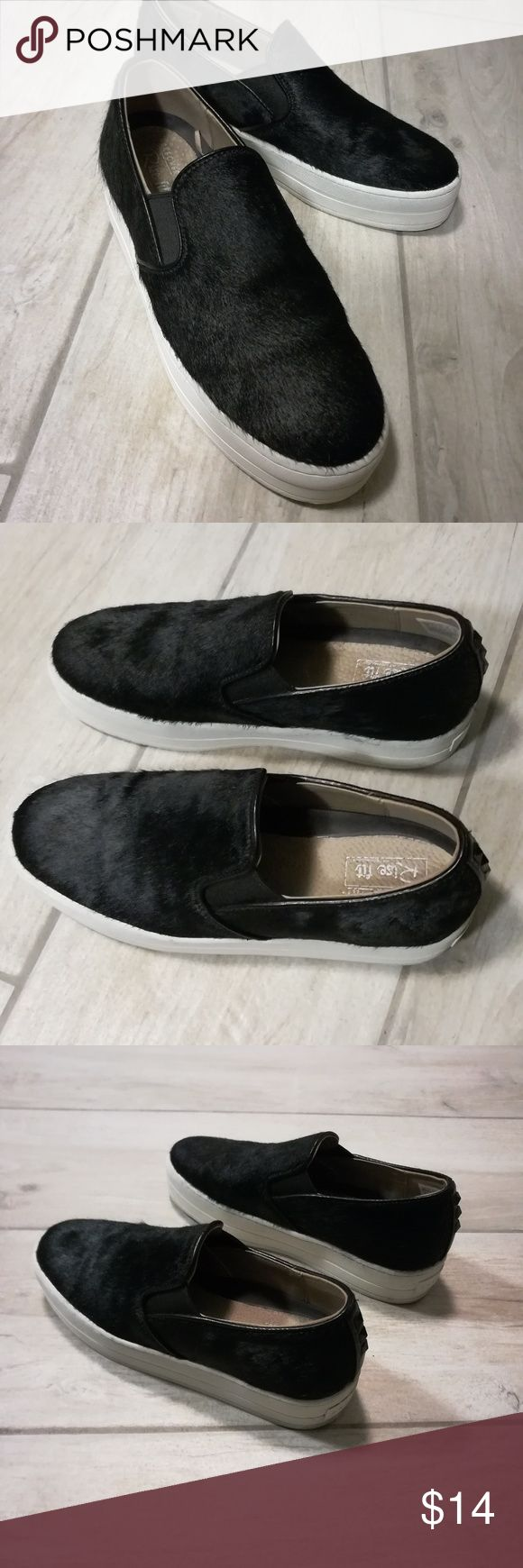 """💞 Skechers - slip on loafers For your consideration is super cool high-rise loafers by Skechers.   Casual & super comfortable yet trendy and fashionable 👟🛍️✨  Great condition, please ask if any questions.  Features slip on style with 2"""" platform and edgy studs.  Elastic part on each side for easy fit.  True to size.  100% leather with cow hair on the upper part.  Smoke free, fast shipping. Skechers Shoes"""