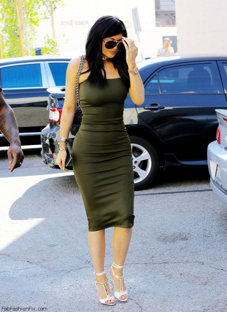 Kylie Jenner Street Style With Sorella Olive Green Dress
