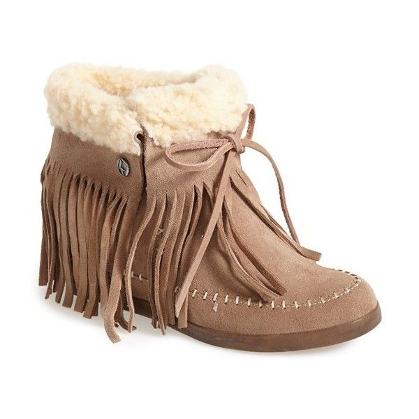 "Koolaburra 'Mocky Moc' Genuine Shearling & Leather Wedge Bootie, 3""... ($147) ❤ liked on Polyvore featuring shoes, boots, ankle booties, ankle boots, seta, leather ankle boots, wedge boots, lace up high heel booties and leather wedge booties"