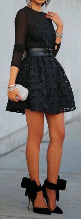 Lace Dress & Bow Heels