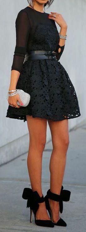 Lace Dress & Bow Heels