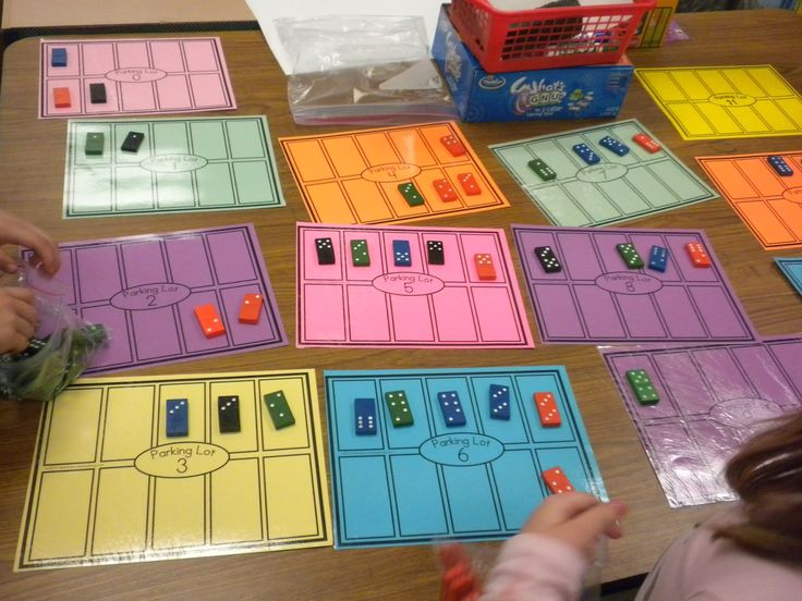 Math Tubs in Kindergarten  Parking lot game