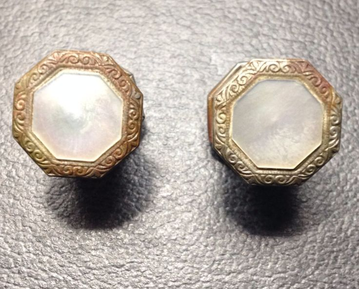 Vintage Mother of Pearl inlay and Brass Cuff links 1924 pat'd  by PastFunk on Etsy
