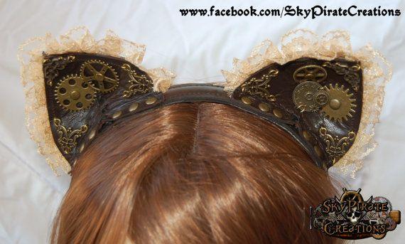 Steampunk Kitty Cat Ears Headband by SkyPirateCreations on Etsy