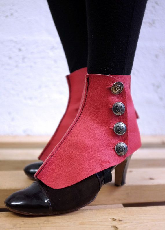 Made from soft real leather these spats will over time soften to fit your  shoe or