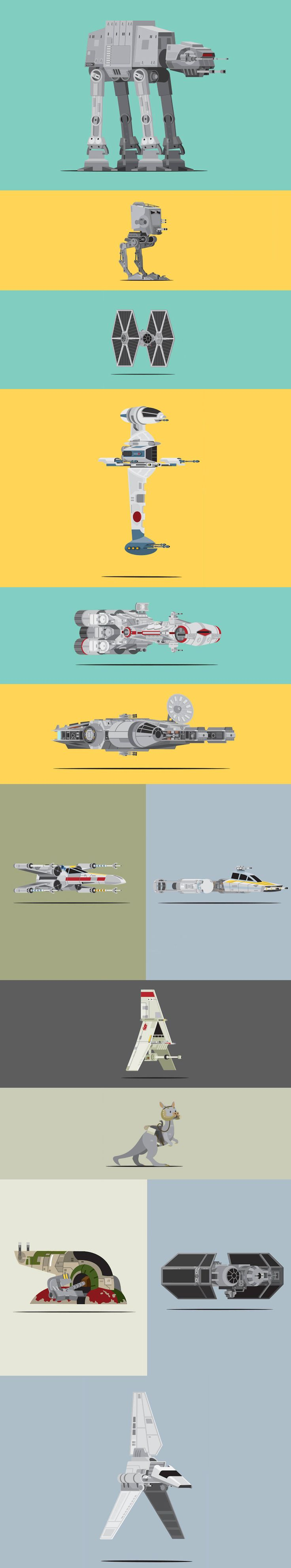 Scott Park Star Wars vehicle illustrations