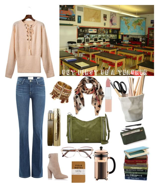 """New school season"" by raffaellapapami on Polyvore featuring Frame Denim, Gianvito Rossi, Relic, Bodum, Burberry, ESSEY, Givenchy and Rimmel"