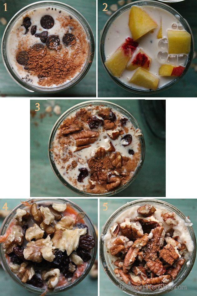 Overnight Grab-N-go Oats -Base:   1/3 c rolled oats,  1/3 c plain yogurt  1/3 c