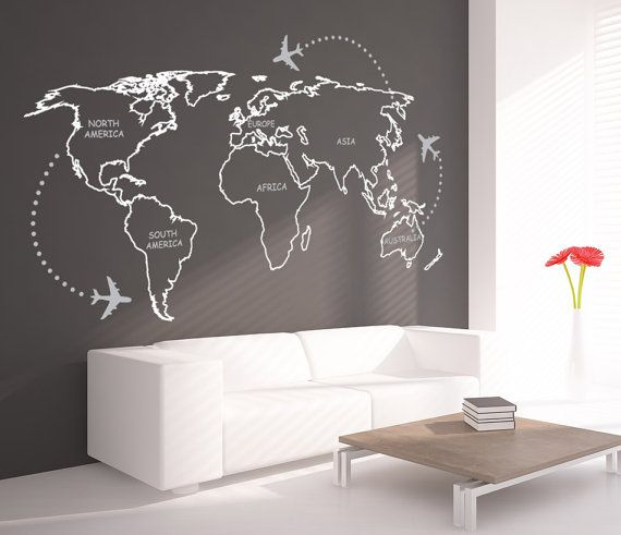 world map outlines with continents decal for by decalsticker maps travel posters. Black Bedroom Furniture Sets. Home Design Ideas