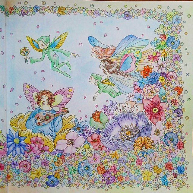 Instagram media woods_rira - The second page 右ページ。右隅の紫の花が浮いてしまった。 花一杯。 #お姫さまと妖精のぬり絵ブック  #花の国の結婚式 #princessesandfairiescoloringbook  #Thumbelina  #coloringbook  #coloredpencil  #pastel