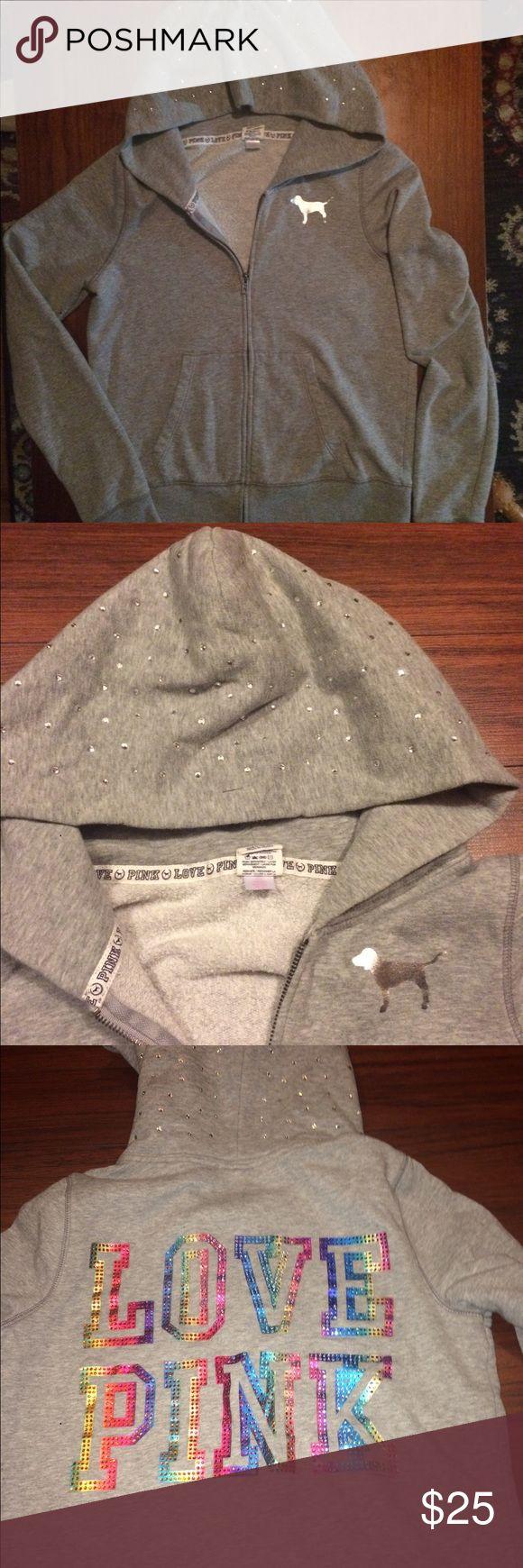 Victoria Secret Pink zip up hoodie ❤️ Victoria Secret Pink zip up hoodie ❤️ missing string PINK Victoria's Secret Tops Sweatshirts & Hoodies