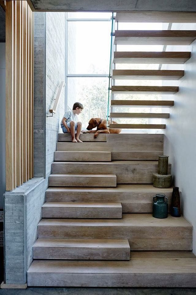 The solid oak staircase steel and concrete