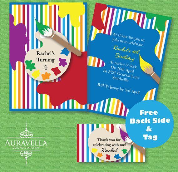 Art Party Invitation. Printable birthday invitation, Craft party invitation, art invite, party invitation, kids invitation. Colourful invite