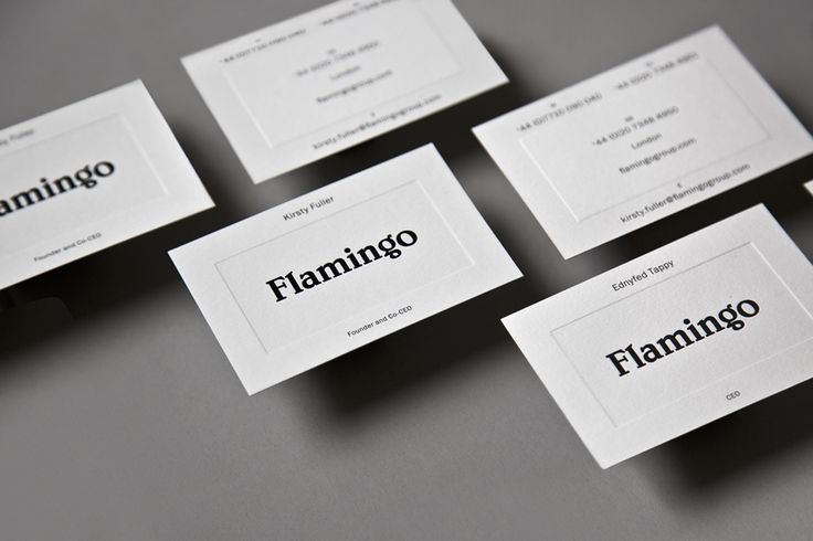 Brand Identity and blind emboss business cards for Flamingo by Bibliotheque, United Kingdom