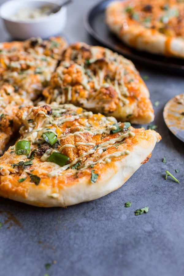 Buffalo Roasted Cauliflower Pizza with Chipotle Blue Cheese Avocado ...