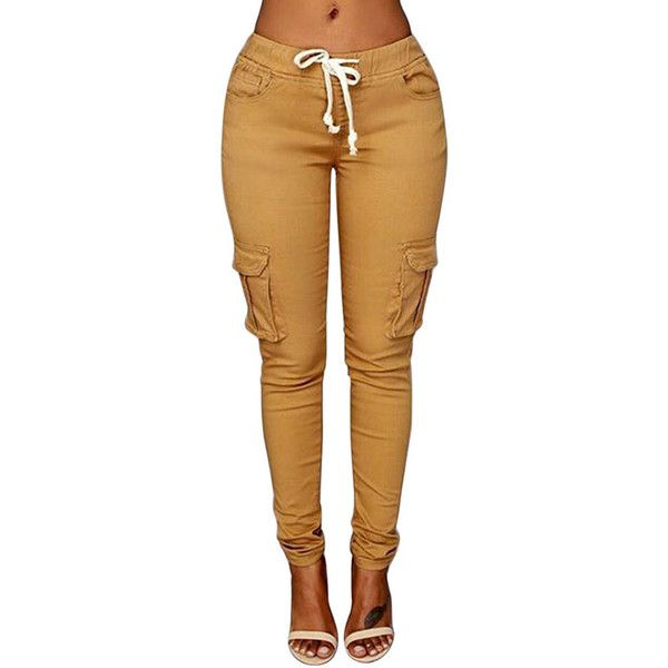 Womens Casual Plain Drawstring Waist Pockets Pants Khaki ($20) ❤ liked on Polyvore featuring pants, bottoms, khaki, brown trousers, brown pants, khaki trousers, drawstring waist pants and pocket pants