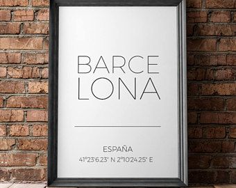 Barcelona stad coördineert teken, Latitude, Longitude Print, Barcelona City Wall Art, Gps-coördinaten, minimalistische Poster, de idee van de Gift van de reizen