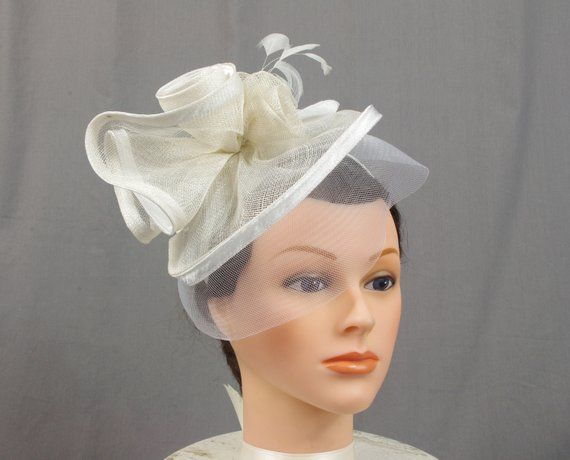 White Cream Wedding Church  Fascinator Hat Beige Veil Feather Bridal Wedding