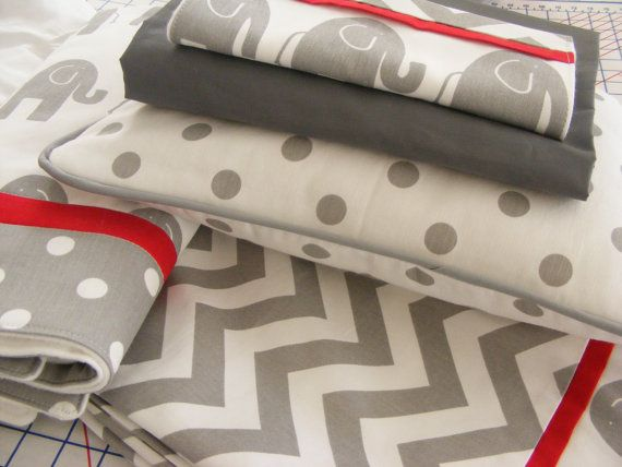 Baby Bedding  / White and Grey  Red Modern by ThePincushionStore, $255.00