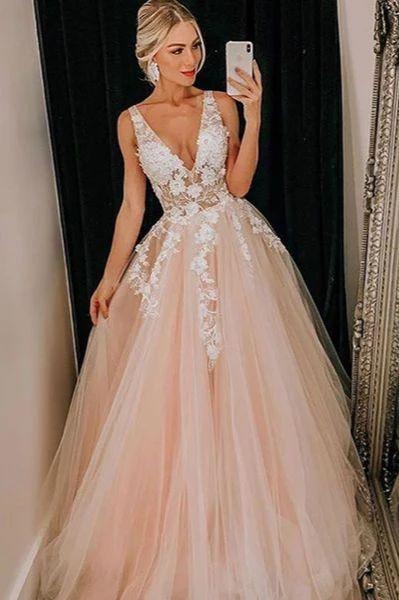 Light Pink Tulle V Neck Applique Lace Wedding Dress/Prom Dress 1