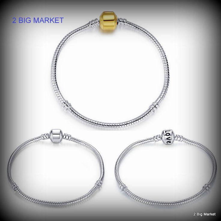 925 Silver Snake Bangle Bracelets Sterling Fashion Bead Charm Clasp st5 For Gift #Bamoer #Bangle