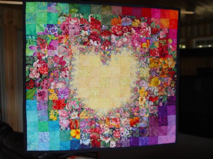 Watercolor Tropical Heart quilt