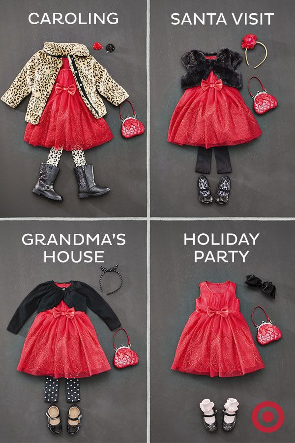 Find the perfect holiday outfit for your little girl, starting with one dress. This red party dress can easily be transformed into 4 different looks by simply updating the pieces, like faux-fur jackets and vests, cardigans, sweet hair accessories and fun shoes.