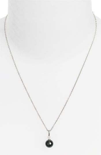 Mikimoto Diamond & Black South Sea Cultured Pearl Pendant Necklace available at #Nordstrom